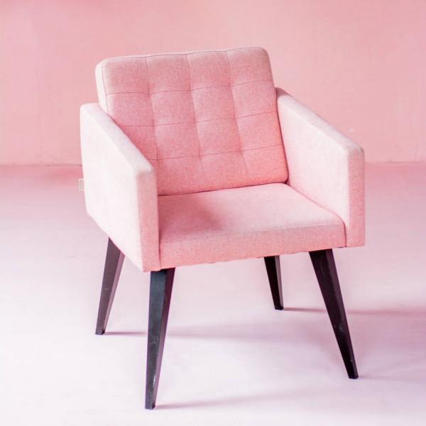 싱글 쿠션 블라썸 핑크 의자
