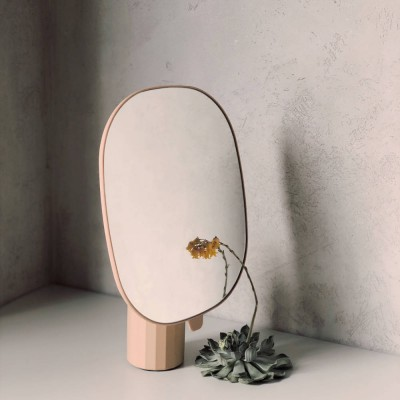 큰 타원형 원목 거울